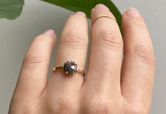 The Bryn Ring with a Salt & Pepper Hexagon Diamond