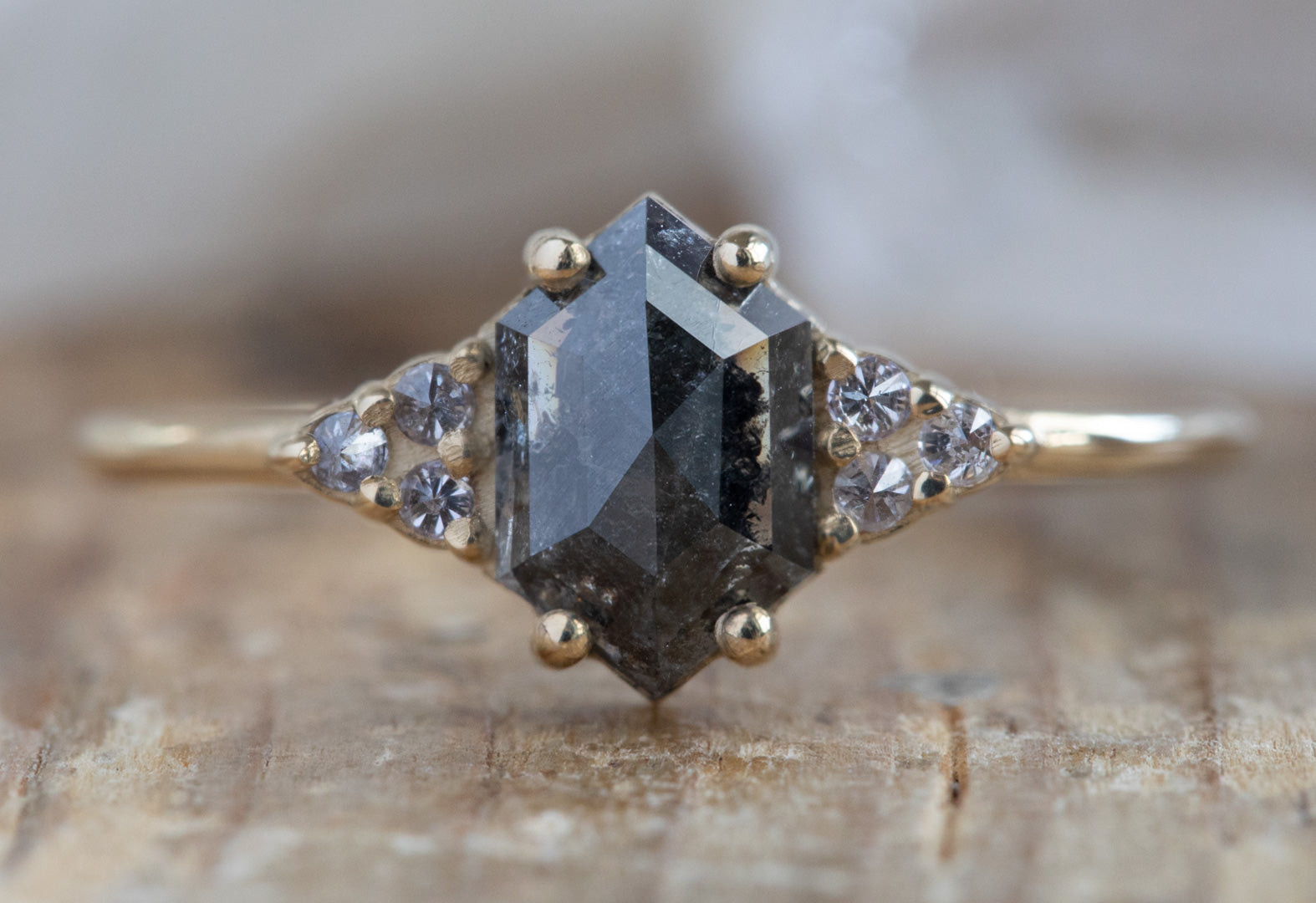 The Ivy Ring with a Black Hexagon Diamond