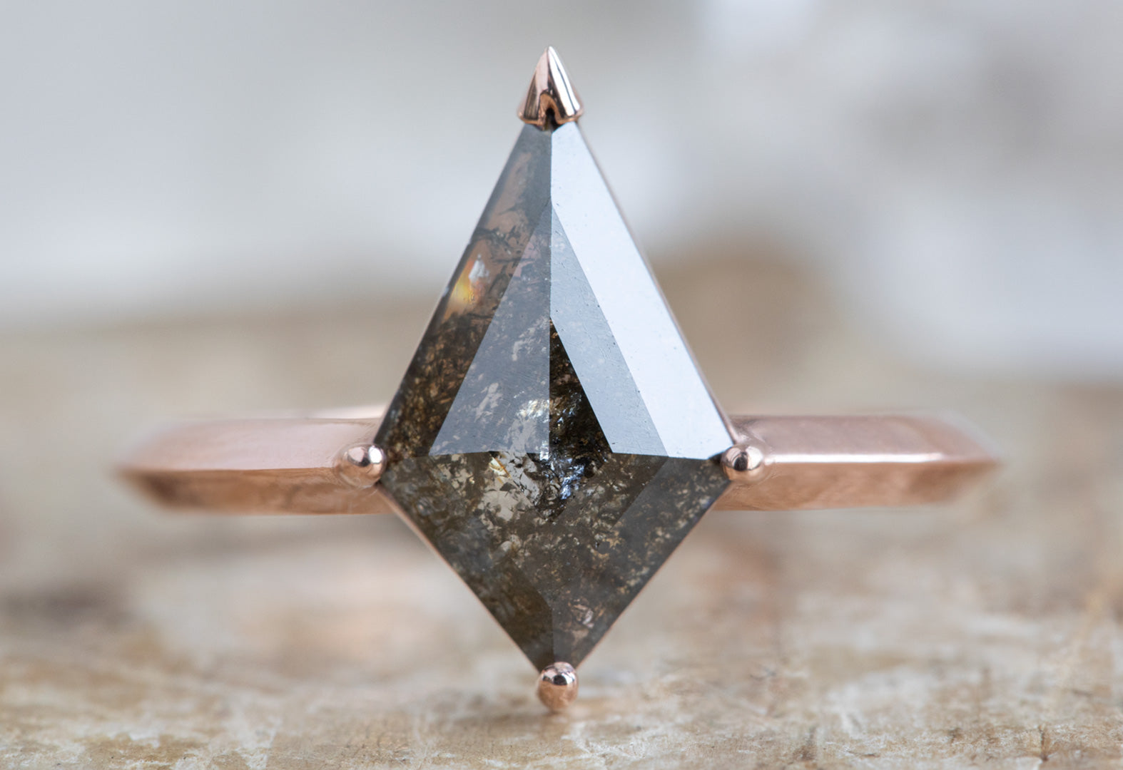 The Sage Ring with a Black Kite Diamond
