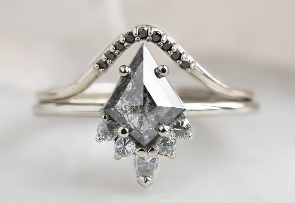 The Aster Ring with a Salt + Pepper Kite Diamond