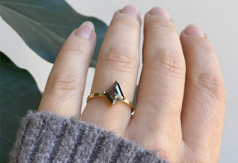 The Sage Ring with a Salt & Pepper Kite Diamond