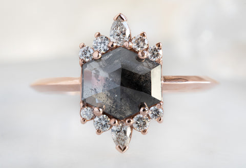The Lotus Ring with a Black Hexagon-Cut Diamond