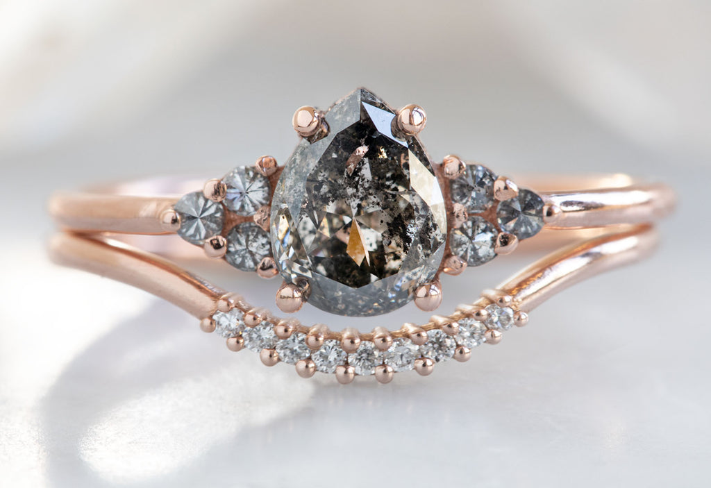 The Ivy Ring with a Salt & Pepper Pear-Cut Diamond