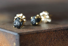 Black Rough Diamond Stud Earrings