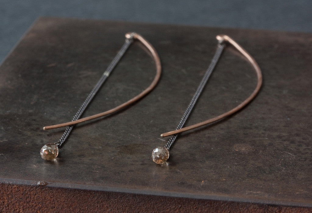 Champagne Diamond Ellipse Earrings
