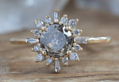 The Compass Ring with a Salt & Pepper Round Diamond