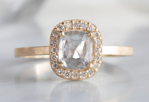 One of a Kind Cushion Cut Ice Diamond Engagement Ring with Pavé Halo