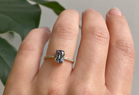 The Willow Ring with a Cushion Cut Tanzanite