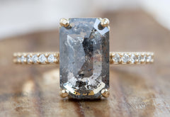 Large Emerald Cut Salt + Pepper Diamond Engagement Ring with Pavé Band