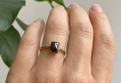 The Willow Ring with a Black Emerald-Cut Diamond