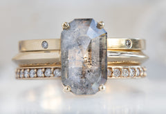 The Bryn Ring with a Salt & Pepper Emerald-Cut Diamond