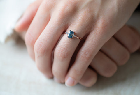 The Ash Ring with an Emerald-Cut Montana Sapphire