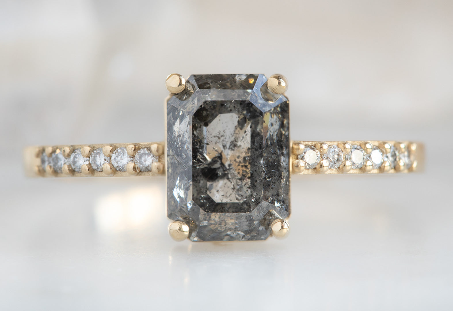 The Willow Ring with a Salt & Pepper Emerald-Cut Diamond