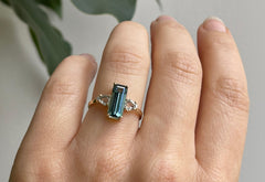 The Jade Ring with a Teal Emerald-Cut Tourmaline