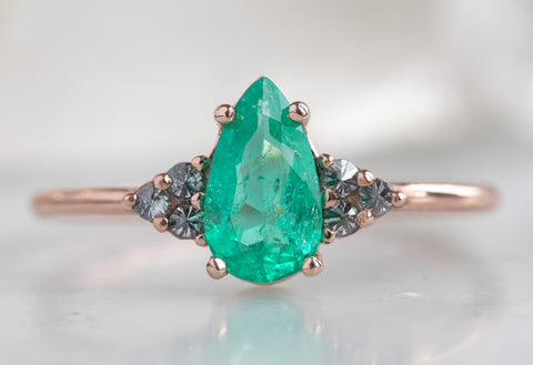 The Ivy Ring with a Pear-Cut Emerald