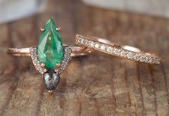 Emerald & Black Diamond Engagement Ring with Half Halo
