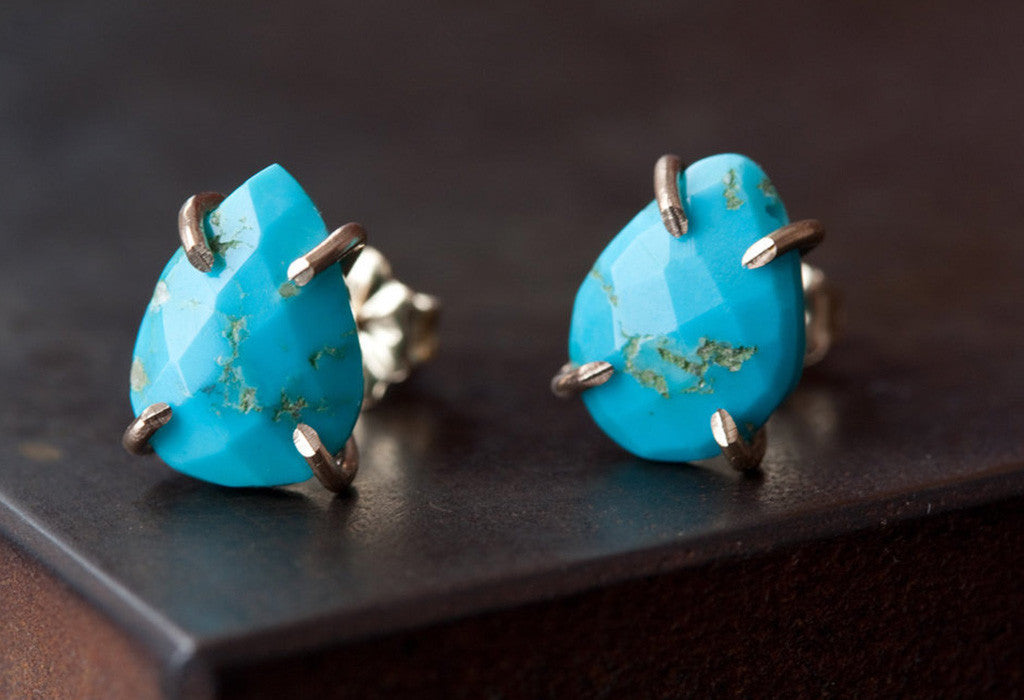 Blue Turquoise Stud Earrings in 14kt Gold