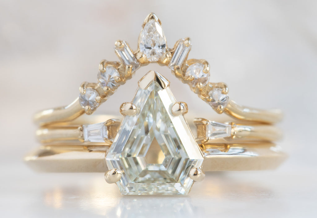 The Sage Ring with a Shield Cut White Diamond
