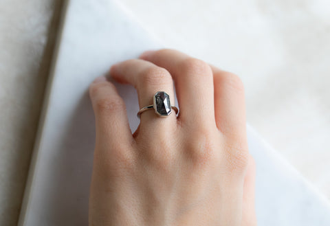The Hazel Ring with a Black Emerald-Cut Diamond