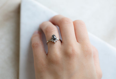 The Aster Ring with a Black Rose-Cut Diamond