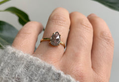 One of a Kind Rose Cut Salt + Pepper Diamond Engagement Ring