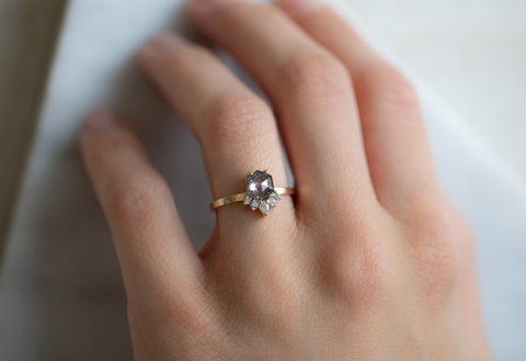The Aster Ring with a Salt & Pepper Hexagon Diamond