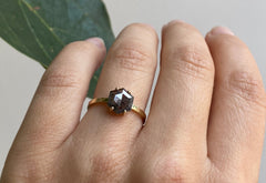 Hexagon Cut Black Diamond Engagement Ring