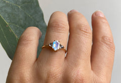 Three-Stone Hexagon-Cut Moonstone Engagement Ring