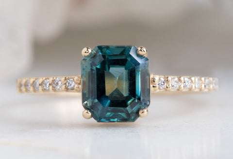 The Willow Ring with a Emerald-Cut Montana Sapphire