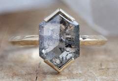 The Sage Ring with a Salt + Pepper Hexagon Diamond
