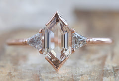 The Jade Ring with a Hexagon Cut Peach Sapphire