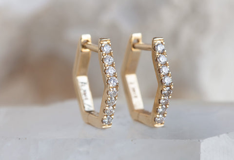 Pavé Diamond Hexagon Hoops