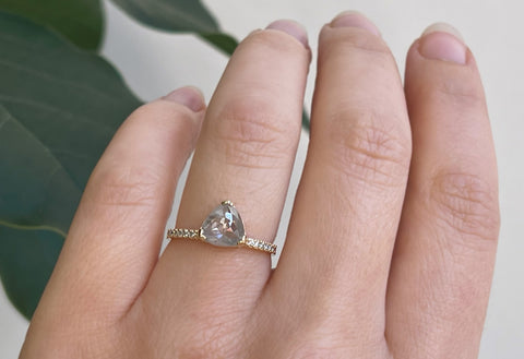 The Willow Ring with an Opalescent Trillion Diamond