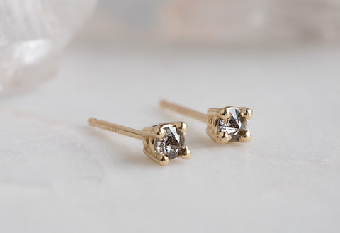 Inverted Salt & Pepper Diamond Stud Earrings
