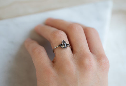 The Ivy Ring with a Black Pear-Shaped Diamond