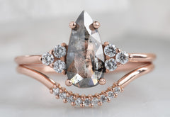 The Ivy Ring with a Salt & Pepper Pear-Shaped Diamond