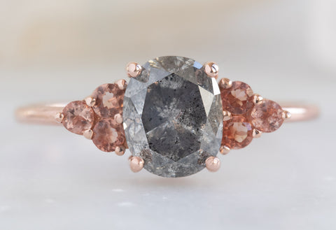 The Ivy with an Oval Cut Grey Diamond + Sunstones