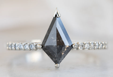 Kite-Shaped Black Diamond Engagement Ring with Pavé Band