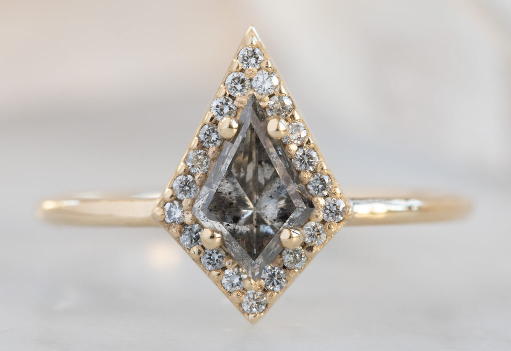 The Dahlia Ring with a Kite-Shaped Salt + Pepper Diamond