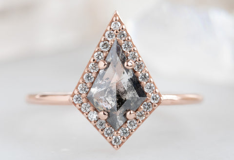 Kite-Shaped Salt + Pepper Diamond Engagement Ring with Halo