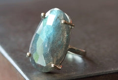 Labradorite Ring in 14kt  Gold + Sterling