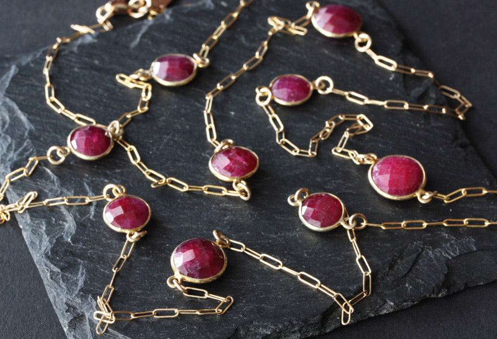 Long Station Necklace - Ruby
