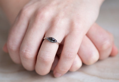 The Sage Ring with a Black Marquise-Cut Diamond