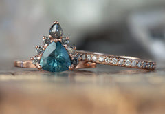 One of a Kind Montana Sapphire + Diamond Engagement Ring