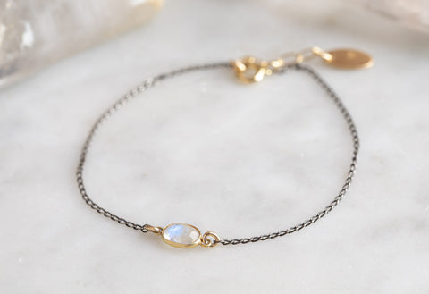 Rose Cut Moonstone Chain Bracelet
