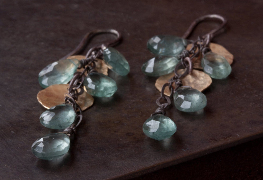 Moss Aquamarine Cascade Earrings