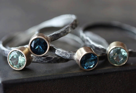 Natural Blue Sapphire Stacking Ring - As seen in LUCKY Magazine