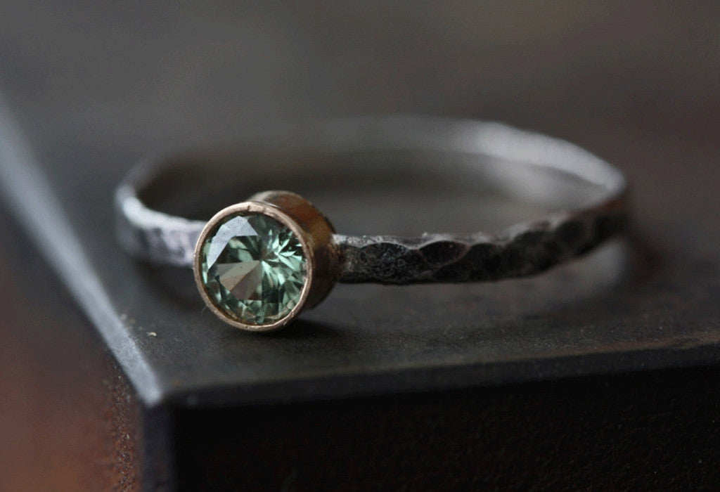 Natural Green Sapphire Stacking Ring