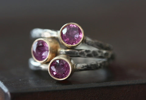 Natural Ruby Ring in 14kt + Sterling Silver