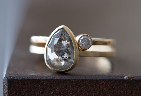 Natural Grey Salt + Pepper Rose Cut Diamond Ring